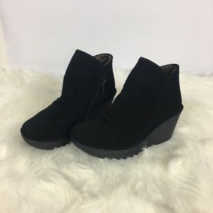 Fly London Suede Wedge Ankle Boots Size 37
